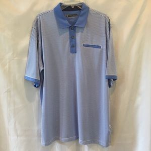 Pebble Beach Blue Striped Polo Golf Shirt Size XL